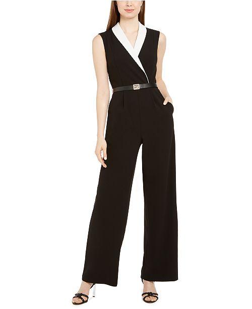 Calvin Klein Colorblocked Notch-Collar Jumpsuit
