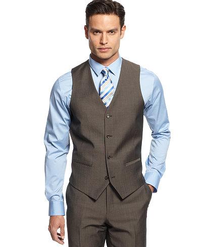 Alfani Light Brown Twill Slim-Fit Vest - Men's Vests - Men - Macy's
