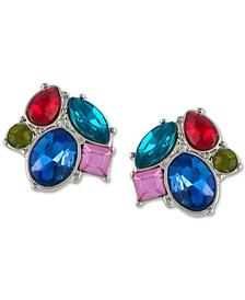 Silver-Tone Multicolor Crystal Cluster Stud Earrings