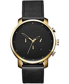 Men's Chronograph Gold Black Leather Strap Watch 45mm