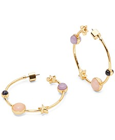 "Medium Gold-Tone Stone & Star Hoop Earrings, 1.5"""