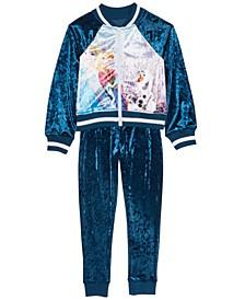 Little Girls 2-Pc. Frozen Velvet Jacket & Jogger Pants