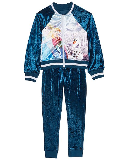 Disney Little Girls 2-Pc. Frozen Velvet Jacket & Jogger Pants