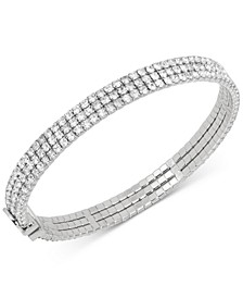 Silver-Tone Crystal Thin Bangle Bracelet