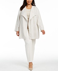Plus Size Open-Front Houndstooth Jacket