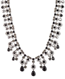 "Hematite-Tone Crystal & Stone Statement Necklace, 16"" + 3"" extender"