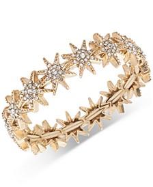 Gold-Tone Pavé Star Stretch Bracelet