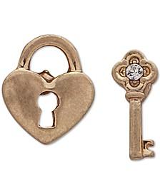 Gold-Tone Pavé Key & Heart Lock Mismatch Stud Earrings