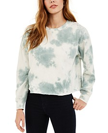 Juniors' Tie-Dye Cropped Sweatshirt