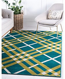 Plaid Jso006 Green 4' x 6' Area Rug