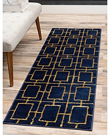 Glam Mmg002 Navy Blue/Gold Area Rug Collection