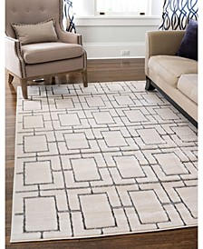 Glam Mmg002 White/Silver 8' x 10' Area Rug