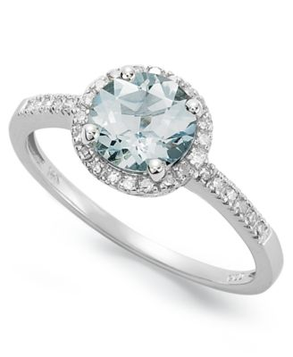 14k White Gold Ring Aquamarine 1 ct tw and Diamond 18 ct
