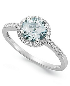Aquamarine (1 ct. t.w.) and Diamond (1/8 ct. t.w.) Ring in 14k White Gold