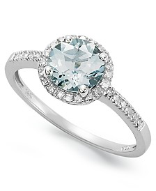 14k White Gold Ring, Aquamarine (1 ct. t.w.) and Diamond (1/8 ct. t.w.) Ring