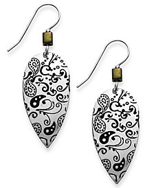 Jody Coyote Silver-Plated Brass Earrings, Antique Teardrop Earrings