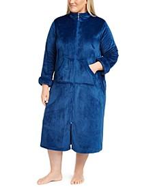 Plus Size Fleece Long Zipper Robe