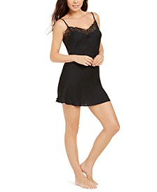 Bardot Satin Lace Trim Chemise Nightgown