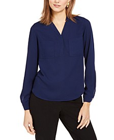 Two-Pocket V-Neck Blouse