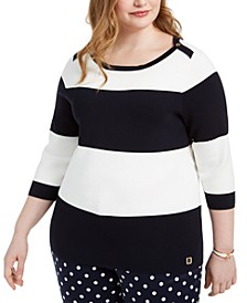 Plus Size Striped Sweater