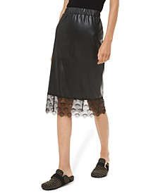Lace-Trim Faux-Leather Skirt