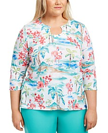 Plus Size Printed Embellished Top