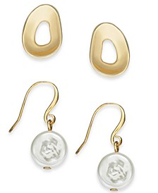 2-Pc. Set Gold-Tone Imitation Freshwater Pearl Drop & Stud Earrings, Created For Macy's