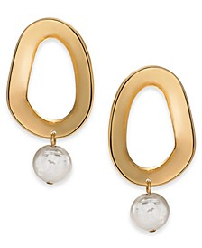 Gold-Tone Link & Imitation Pearl Drop Earrings, Created For Macy's