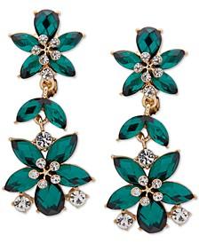 Gold-Tone Crystal & Stone Flower Clip-On Linear Drop Earrings