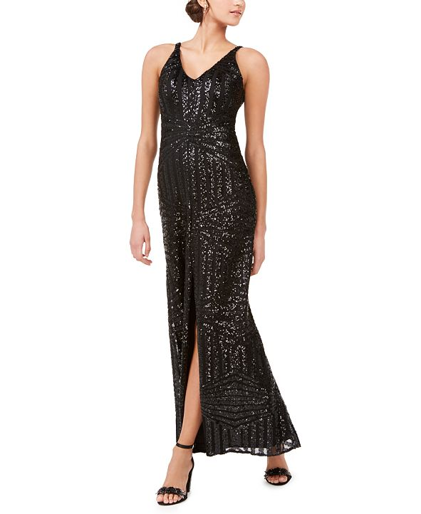 Nightway Geo-Sequined Gown