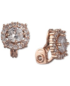 Rose Gold-Tone Crystal Button Clip-On Earrings