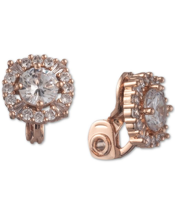 Anne Klein - Rose Gold-Tone Crystal Button Clip-On Earrings