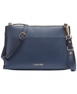 Calvin Klein Sonoma Crossbody In Dark Storm/Gold