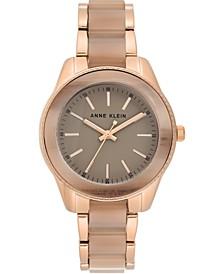 Women's Rose Gold-Tone & Tan Bracelet Watch 37.5mm