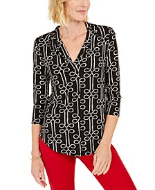 Petite Printed Pleated-Neck Top, Created for Macy's