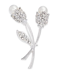 Silver-Tone Crystal & Imitation Pearl Tulip Pin, Created for Macy's