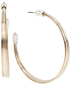 "Two-Tone Large Wire Hoop Earrings, 2.7"""