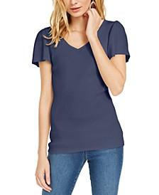 INC V-Neck Flutter-Sleeve Sweater, Created For Macy's