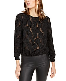 INC Petite Jacquard Blouse, Created For Macy's