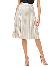 Adrianna Papell Metallic Pleated Skirt