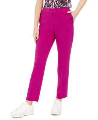 Faux-Button Straight-Leg Stretch Pants, Created For Macy's