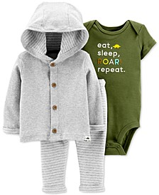 Baby Boys 3-Pc. Cotton Button-Front Hoodie, Dinosaur Bodysuit & Pants Set