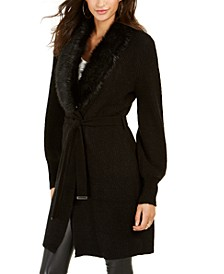 Faux-Fur Trim Ribbed Cardigan, Created For Macy's