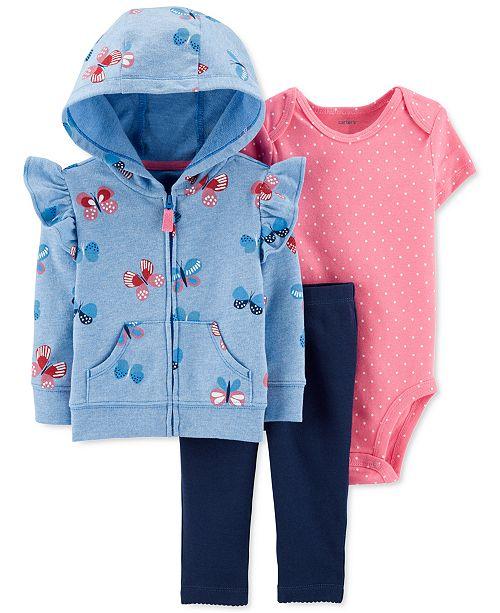 Carter's Baby Girls 3-Pc. Butterfly Hoodie, Bodysuit & Leggings Set