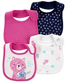 Baby Girls 4-Pack Printed Cotton Bibs