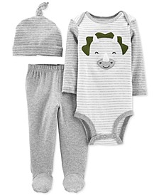 Baby Boys 3-Pc. Cotton Hat, Dinosaur Bodysuit & Footed Pants Set