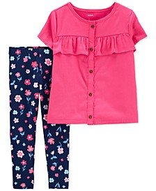 Baby Girls 2-Pc. Ruffle-Trim Sateen Top & Floral-Print Leggings Set