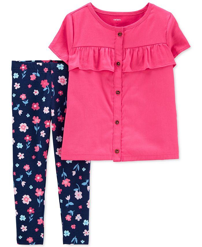 Carter's - Baby Girls 2-Pc. Ruffle-Trim Sateen Top & Floral-Print Leggings Set