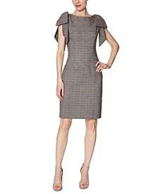 Menswear-Print Bow-Shoulder Dress