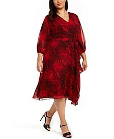 Plus Size Printed Faux-Wrap Dress